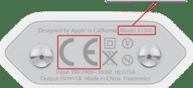 """O número de série do modelo defeituoso é A1300 e possui as letras """"CE"""" em cinza claro"""