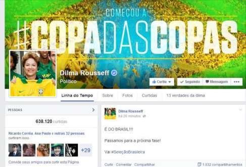 Presidente usou a internet para parabenizar seleção brasileira