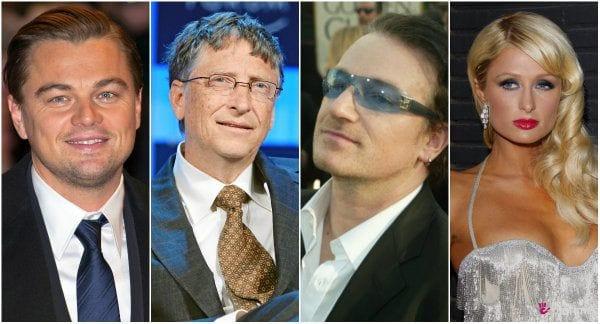 Leo DiCaprio, Bill Gates, Bono Vox e Paris Hilton. Fotos: divulgação