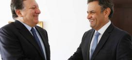 Segundo Aécio, Durão Barroso (esquerda) estaria tentando antecipar entendimentos com o Mercosul