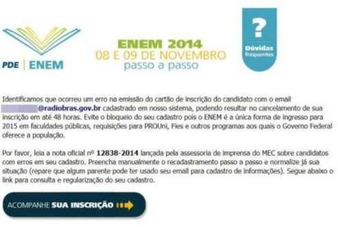 E-mail falso sobre o Enem usado para enganar usuários – Foto: Arquivo/Agência Brasil