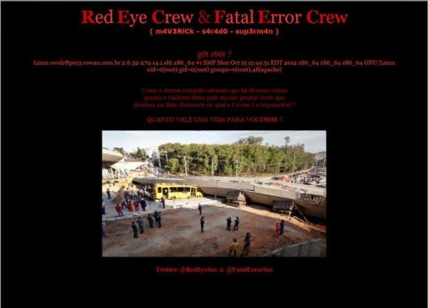 Site da Cowan é invadido por hackers e foto da tragédia é colocada na capa