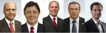 Candidatos eleitos a deputado estadual; Arlen Santiago, Carlos Pimenta, Gil Pereira, Paulo Guedes e Tadeuzinho (Foto: Reprodução Assembleia de Minas)
