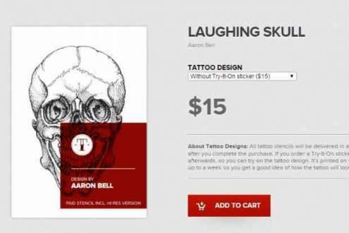 Site também oferece desenhos prontos de tatuagem para vender.