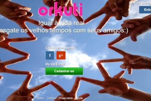 Página de entrada do site Orkuti.