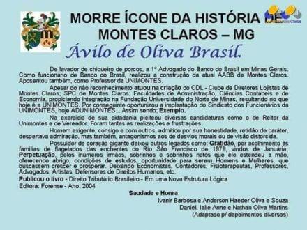Montes Claros - Morre Ávilo de Oliva Brasil, um ícone da história de Montes Claros