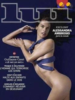 A brasileira Alessandra Ambrosio posou mostrando boa parte dos seios para a revista francesa Lui