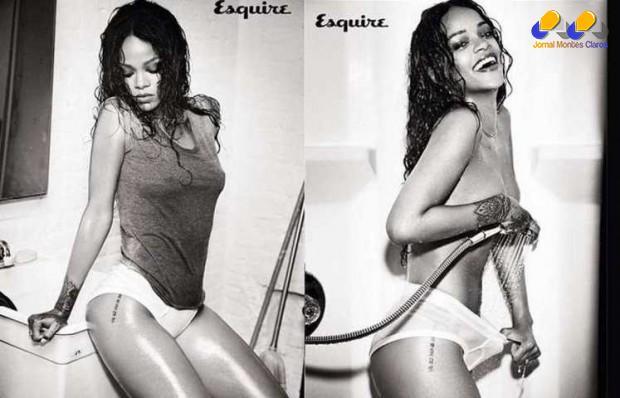 Para a revista Esquire, ela posou provocante, simulando um banho