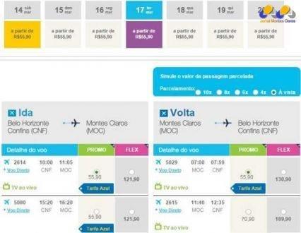 Montes Claros - De avião ou ônibus? Passagem por R$ 55,90 de Montes Claros para Belo Horizonte