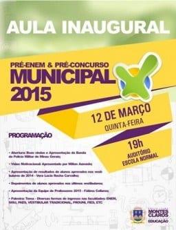 Educação - Aula inaugural do Pré-Emen Municipal de de Montes Claros acontece nesta quinta-feira