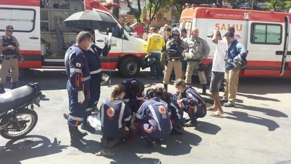 Montes Claros - Sargento da PM morre em acidente no centro de Montes Claros - Foto Mauro Miranda