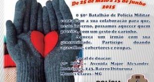 Montes Claros - 50º Batalhão de Polícia Militar lança a Campanha do Agasalho 2015