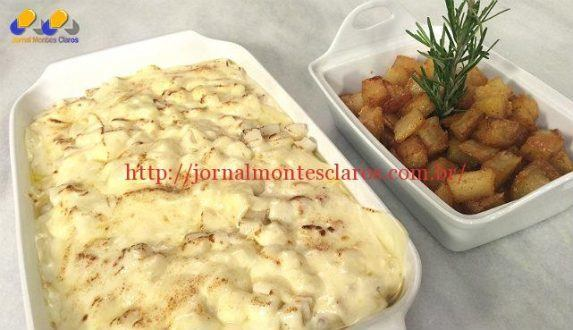 Faça filé de peito de frango com bacon em cubos ao creme de queijo e deliciosas batatas coradas - Foto: Malu Silveira