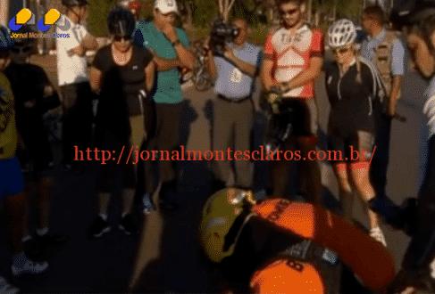 De acordo com imagens veiculadas pela GloboNews, Dilma parou seu exercício para ver o que tinha acontecido com o homem que estava deitado no chão após perder o equilíbrio