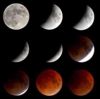 """A Lua vai desaparecer do nosso campo de visão, privada dos raios solares, e reaparecerá pintada de vermelha – por isso, também é conhecida como """"lua sangrenta"""" ou lua de sangue."""