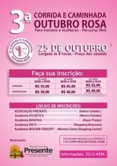 Montes Claros - Associação Presente realiza, em outubro, 3° Corrida e Caminhada do Outubro Rosa
