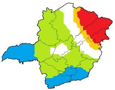 Figura 2 – Distribuição das chuvas no mês de dezembro. Vermelho (abaixo da média), Laranja (pouco abaixo da média), Branco (dentro, acima ou abaixo da média), Verde (acima da média) e Azul (bem acima da média).