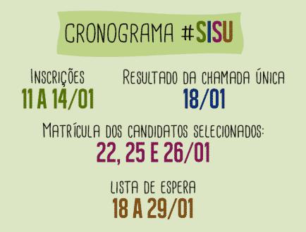 Sisu terá 228 mil vagas -  Inscrições abertas de 11 a 14 de janeiro