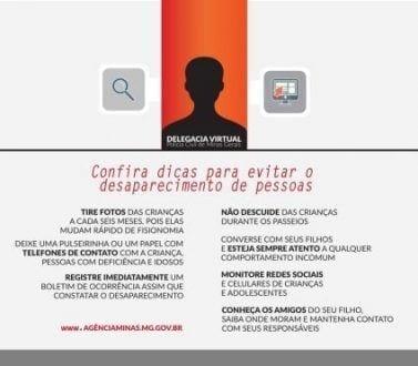 MG - Portal da Delegacia Virtual facilita o registro de pessoas desaparecidas