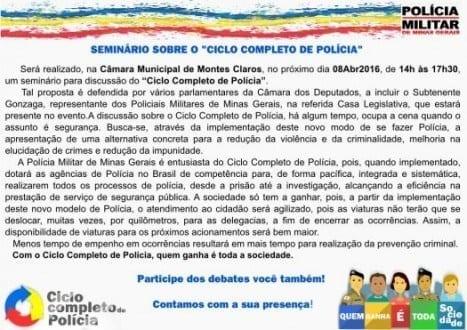 Montes Claros - Seminário sobre o ciclo completo de polícia