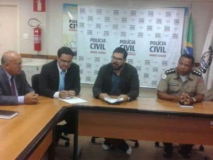 Promotor de Justiça Leandro Pereira Barbosa, Capitão Sobrinho da Polícia Militar e o Delegado Bruno Fernandes Barbosa, Titular da Delegacia de Manga