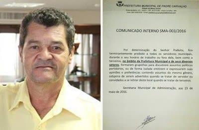 Norte de Minas - Prefeito de Padre Carvalho proíbe discutir política nas repartições públicas