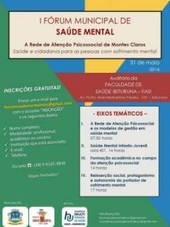 Montes Claros - Seminário vai discutir novidades e ampliação da Rede de Atenção Psicossocial de Saúde Mental