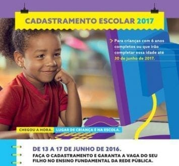 MG - Cadastramento Escolar 2017 começa hoje em Minas Gerais