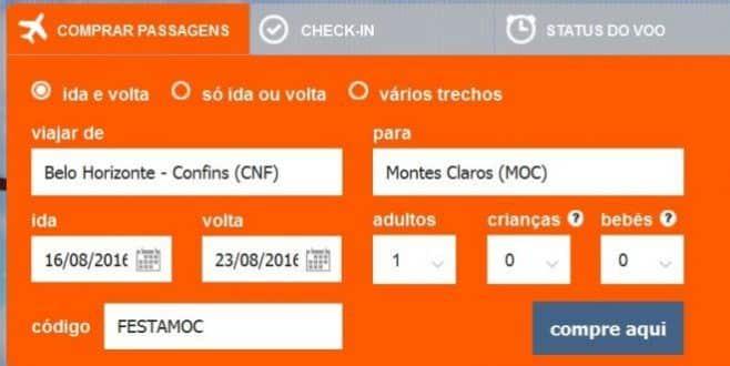Saiba o código promocional que garante desconto nas viagens de avião para Montes Claros