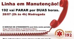 Norte de Minas - Telefone 192 do SAMU não funcionara por duas horas na madrugada do dia 28/07