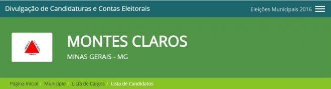 Eleições 2016 - TSE divulga dados dos candidatos a prefeito em Montes Claros
