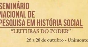 """Unimontes - Abertas inscrições para o II Seminário Nacional de Pesquisa em História Social: """"Leituras do Poder"""""""