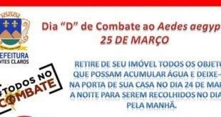 Montes Claros - Defesa Civil convoca para o 'Dia D de combate ao Aedes aegypti'