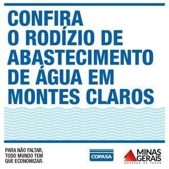 Montes Claros – Saiba como a Copasa adotará o rodízio a partir desta quarta-feira (18) em toda Montes Claros