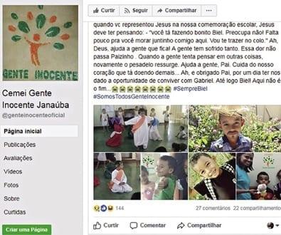 Aluno da creche Gente Inocente, em Janaúba, Gabriel de Oliveira lutou pela vida por três meses, mas não resistiu