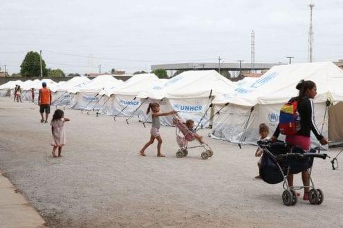 Acampamento de refugiados venezuelanos em Boa Vista, capital de Roraima
