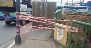 Em Montes Claros a Defesa Civil interdita a ponte da Socomil após destruição parcial e forte críticas feitas nas redes sociais