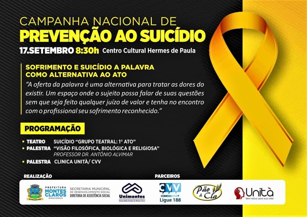 Em Montes Claros, evento vai debater ações de prevenção ao suicídio