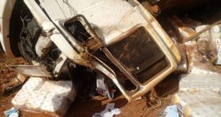 Duas pessoas morreram após caminhão sair da pista e tombar às margens da rodovia — Foto: PRF/Divulgação