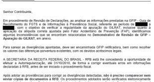 Receita vai enviar cartas às empresas alertando sobre inconsistências declaradas em Guia de Recolhimento do FGTS e de Informações à Previdência Social – GFIP