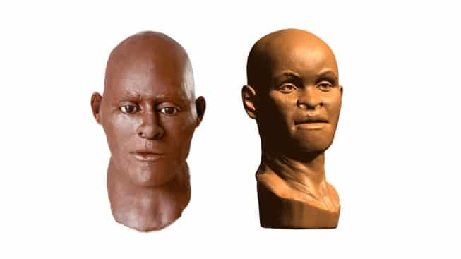 Reconstrução da nova face do Povo de Luzia, à esquerda, é bem diferente do modelo elaborado por Richard Neave, em 1990