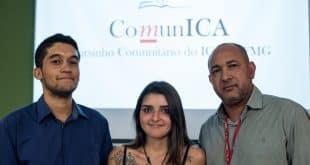 Luis Henrique Assunção, Isabela Parole e Helder dos Anjos, idealizadores do projeto. Foto Amanda Lelis UFMG