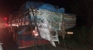 Norte de Minas - Ônibus de Porteirinha bate em caminhão na BR -135 em Augusto de Lima
