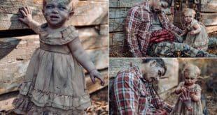 Mãe transforma filha de 11 meses em zumbi para fazer ensaio fotográfico