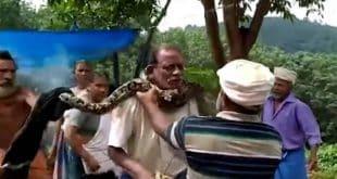 Homem quase é enforcado por cobra; veja o vídeo