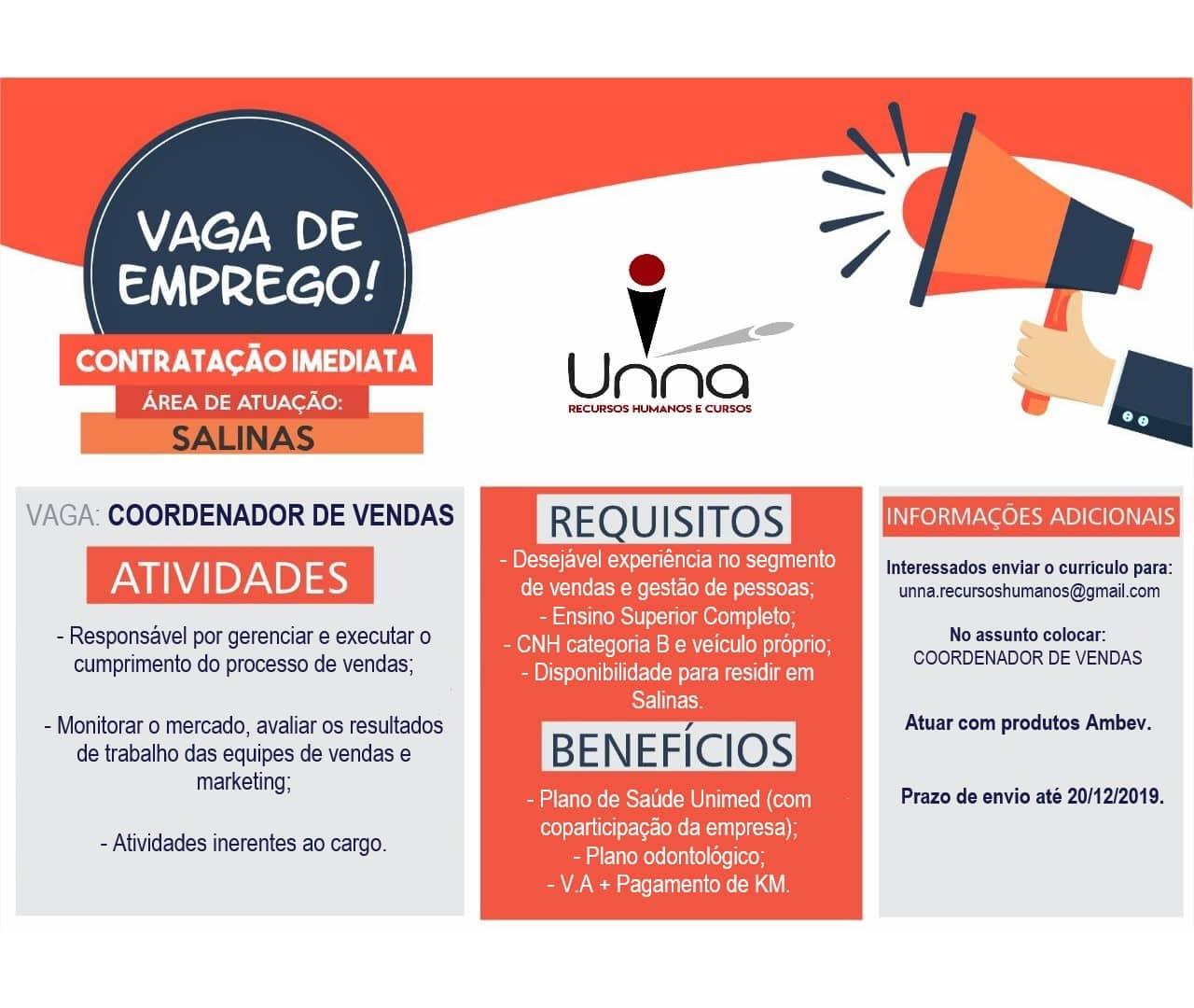Norte de Minas - Vaga de emprego