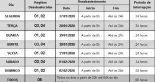 Montes Claros – Confira o rodízio de fornecimento de água em Montes Claros na semana de 27/01/2020 a 02/02/2020