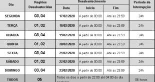 Montes Claros – Confira o rodízio de fornecimento de água em Montes Claros na semana de 17/02/2020 a 23/02/2020
