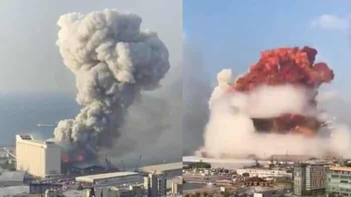 Vídeo mostra sequência de explosões no porto de Beirute, no Líbano