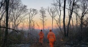 Montes Claros - Bombeiros combatem incêndios na Serra do Mel pelo quarto dia